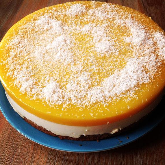 Mango-Kokos-Torte, vegan