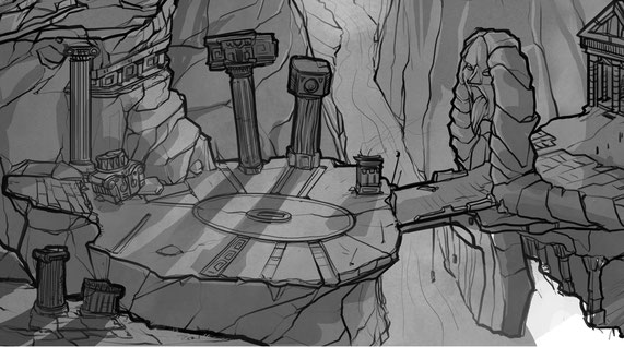 God of war the third fan art like an level design illustration. We can see all the checkpoint of the game.