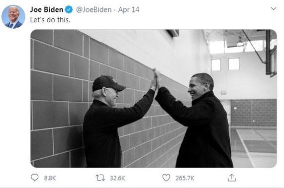 Image published on Joe Biden's Twitter account to annouce Obama's endorcement
