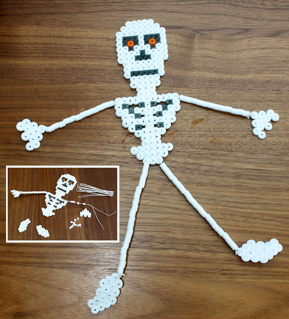 Hama-Anhänger für den Halloween-Strauch - Skelett
