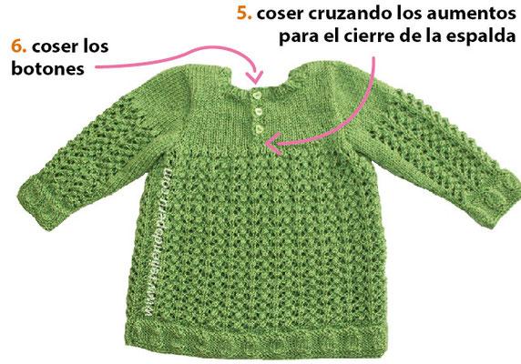 Paso a paso: vestido tejido en dos agujas en varios puntos para niñas de 6 a 9 meses