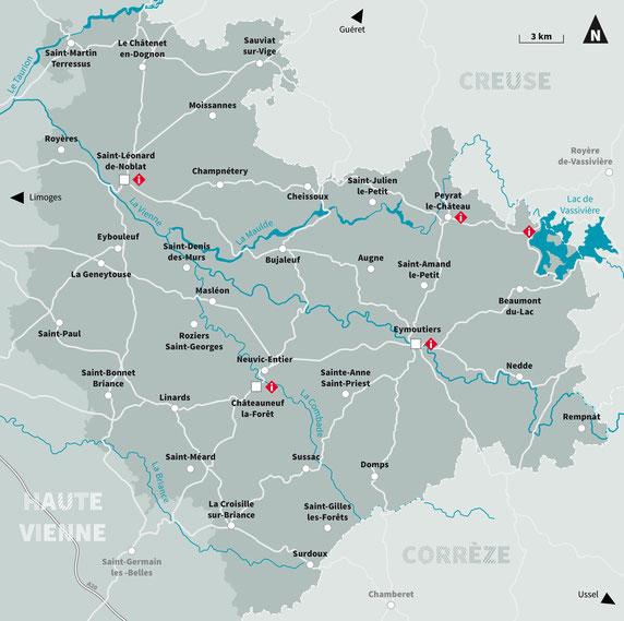 carte Pays Monts et Barrages Pays d'art et d'histoire de Monts et Barrages Pah Monts et Barrages territoire
