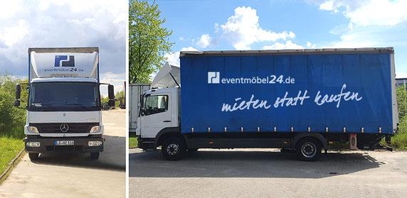 Fotos: Der eventmöbel24.de LKW im Serviceeinsatz: Vor-Ort Lieferung, Aufbauservice und Abbau- und Abholservice