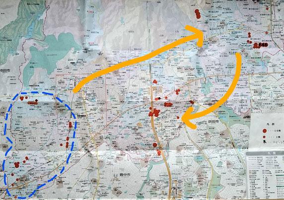 今までの外来オニアザミ除去(赤丸)と,活動伝播の様子(黄色矢印)