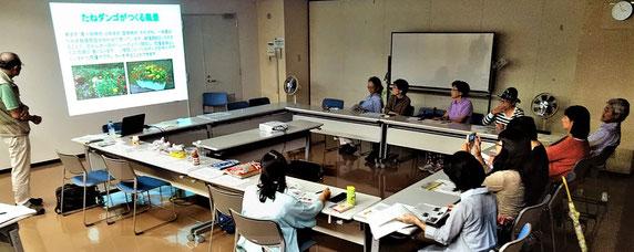 「たねダンゴ実行委員会」の「説明会」の様子(12人参加。箕面駅前サンプラザで9/9)