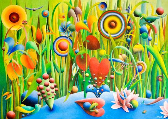 Fantasiegarten, Herz, Kunst, Malerei, Gemälde, Farben, Bunt, Blumen Wiese, Illustration, Grafik, Gerhard Kraus, Künstler, Kriftel,