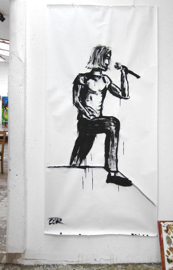 Bild des Monats November 2020 »Großer Sänger« von Cornelius / Tusche auf Papier 200 x 100 cm