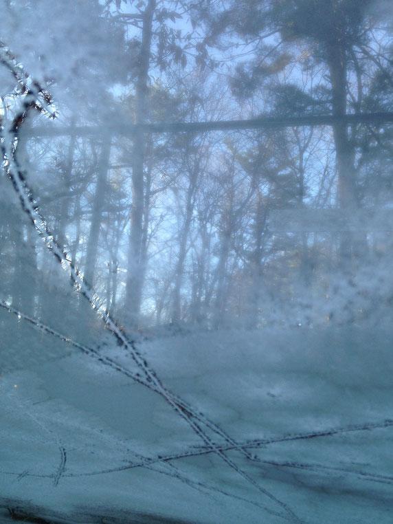 車のフロントガラスに霜の模様