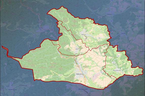 Stadtgebiet Hallenberg          (Veröffentlicht mit Genehmigung der WAGU GmbH und der Stadt Hallenberg)