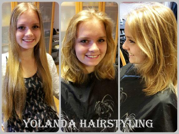 Janneke doneert haar mooie lange haren aan de Nederlandse Haarstichting. Respect Janneke!