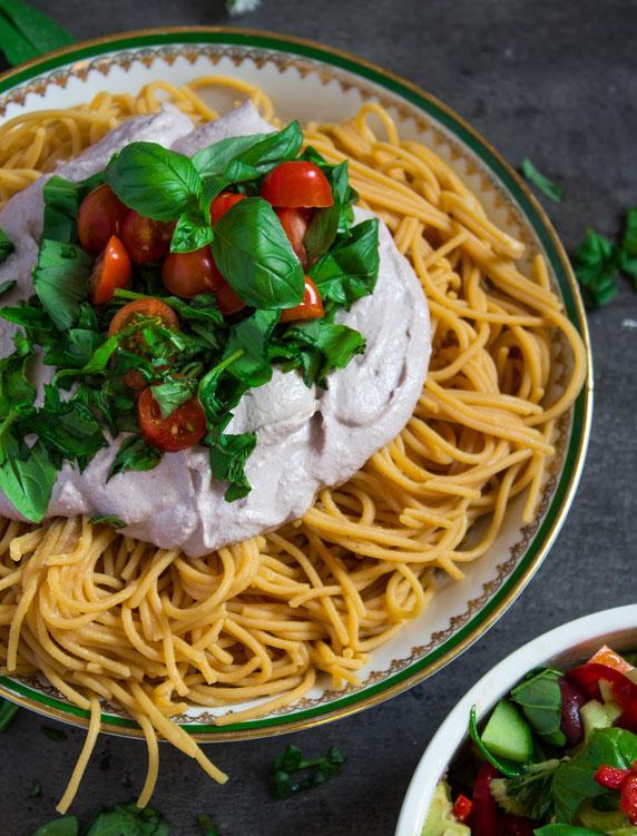 vegan cream cheese sauce and pasta dish