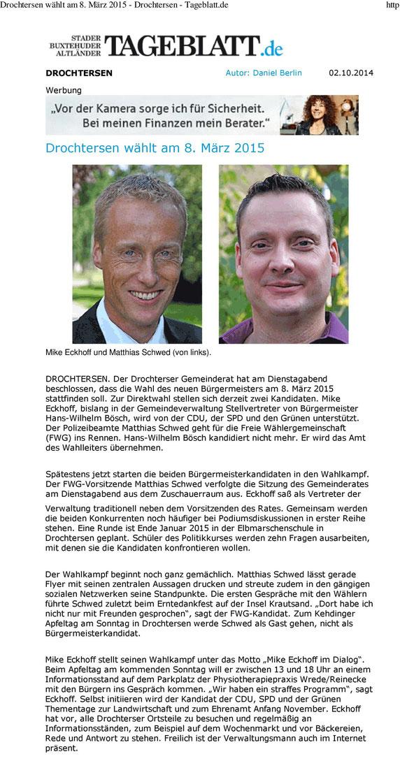 Stader Tageblatt vom 02. Oktober 2014