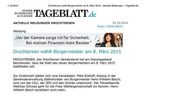 Internetseite vom Stader Tageblatt vom 01. Oktober 2014