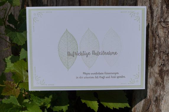 Kondolenzkarte in Lindgrün - angestempelt 2018