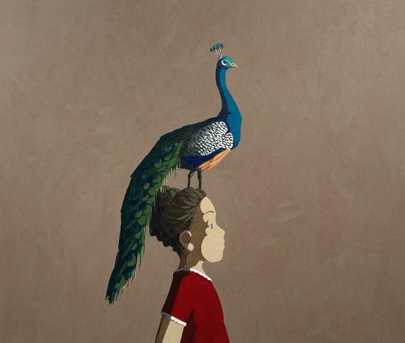 peacock - Acryl auf Leinwand, 100x120cm, 2021