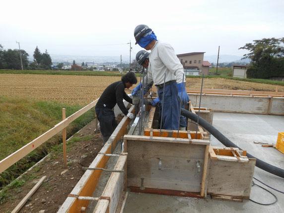 内田の家Ⅰ 松本市 新築工事 長野県松本市の建築家 建築設計事務所 設計監理 現場監理 基礎工事 立上りコンクリート打設
