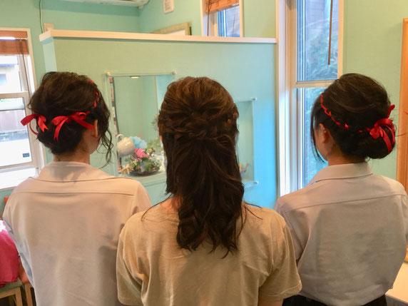 オシャレな高校生3人組で文化祭用のヘアメイク♪