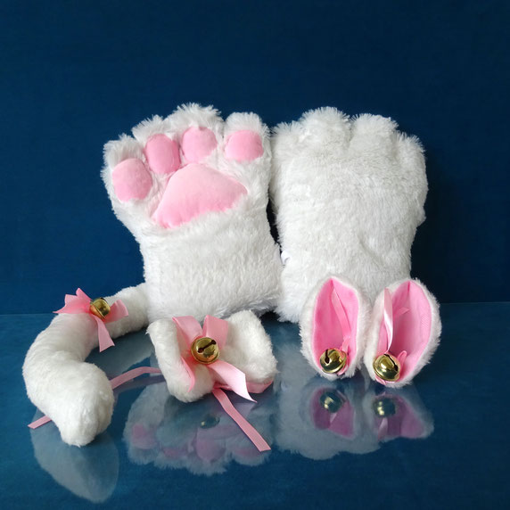 faux paw kitty set white fluffy kitten set white kitten play pet play white cosplay cat pluche cat costume kitty costume kitten spel witte kattenset kattensetje wit pluche kittenset pluche cosplay cat paws ears tail katten oortjes oren katten staart