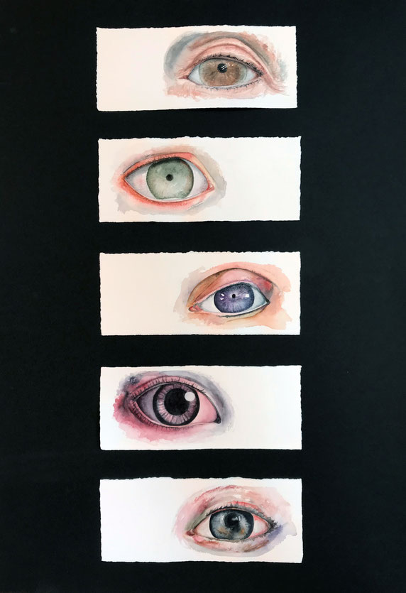 Ojos Traficados, 2018, acuarela sobre papel, 8,5x21,5 cm. c/u