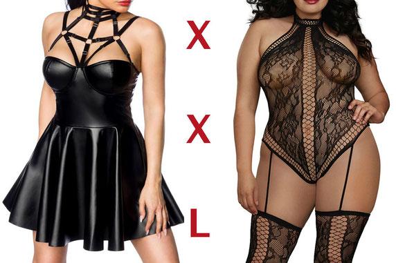 Frauen mit schwarzer Unterwäsche in XXL