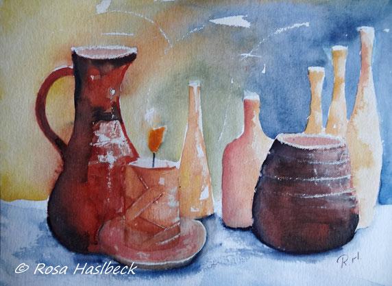aquarell, aquarelle, stillleben kaufen, krug, flaschen , kerze, vase, rot, blau,