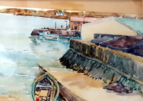 English fishing town ;  watercolour. Courtesy of Robert & Terry Barton