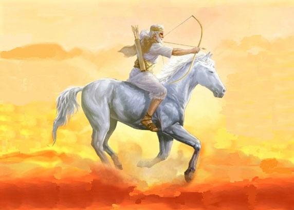 Les 4 cavaliers de l'Apocalypse. L'ouverture du premier sceau a donné lieu à la chevauchée du premier cavalier de l'Apocalypse. Il s'agit d'un cheval blanc. Son cavalier porte une couronne et tient un arc. il sort victorieux sûr de vaincre.