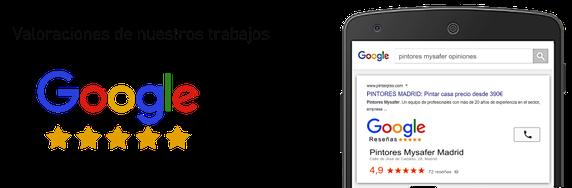 Reseñas opiniones reales en  Google de Pintores Mysafer
