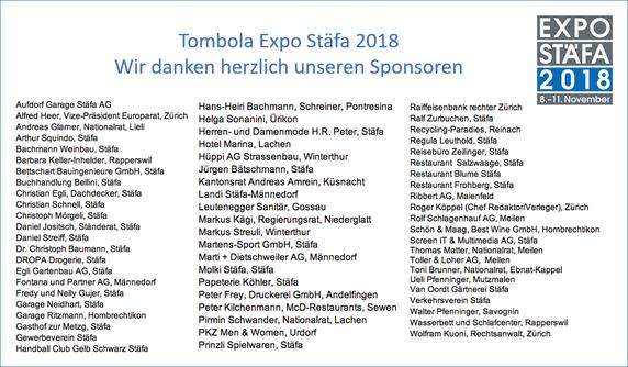 Tombola Expo Stäfa 2018 - Wir danken herzlich unseren Sponsoren