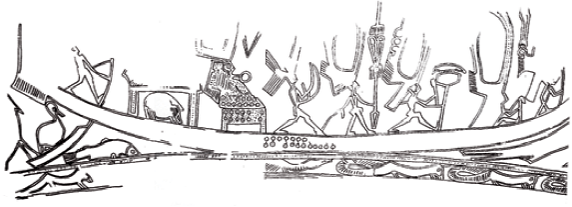 Fig. 7. Vilabouly old drum. Boat decoration schema on the mantle.