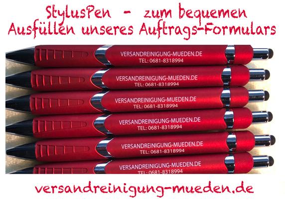 versandreinigungmueden.de, Leistungen, StylusPen, Bild zeigt rote Kugelschreiber mit Logo versandreinigung
