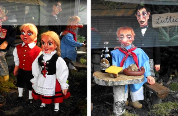 Figuren aus dem Hänneschen-Theater auf dem Kölner Weihnachtsmarkt
