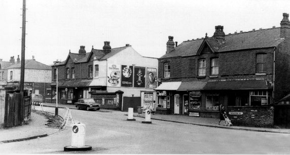 Nineveh Road ?early 1960s viewed from Grasmere Road  from Ted Rudge's Winson Green to Brookfields website. All these buildings have gone, but the brick wall between the shops is the bridge over  Hockley Brook and is still there.
