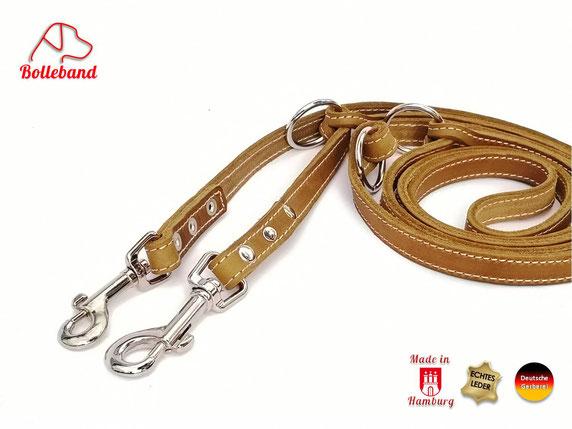 Hundeleine oliv aus Fettleder mit heller Doppelnaht  3 Ringen zum Verstellen und 2 Karabinern