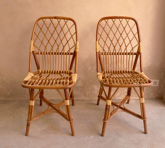 chaises vintage, chaises en rotin, chaises années 60