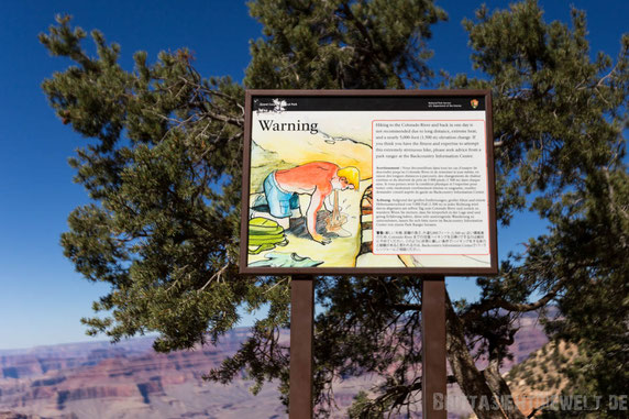 grand,canyon,schild,warning,southkaibabtrail,arizona,colorado,tipps
