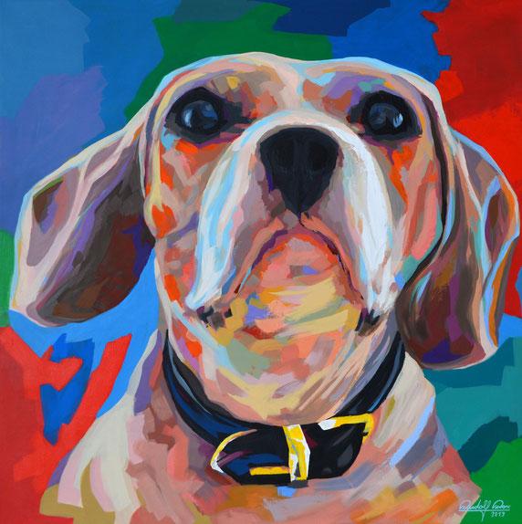 Ein mit Acrylfarben gemaltes Porträt der Beagle-Dame Milli.