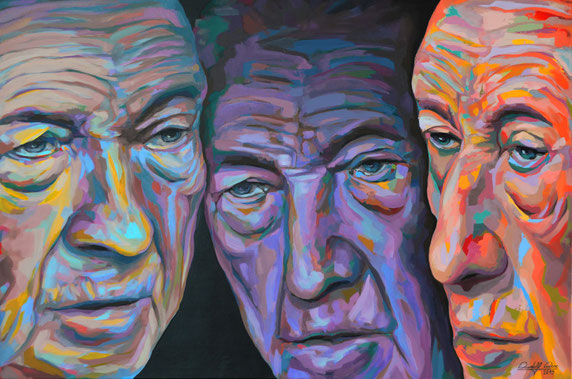Drei Porträts des ersten deutschen Bundeskanzlers in einem Gemälde mit Acrylfarben auf Leinwand gemalt.