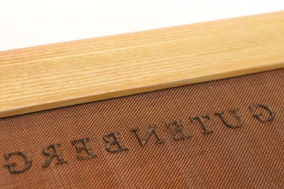 """Schöpfsieb mit Wasserzeichen, Schriftzug """"Gutenberg"""""""