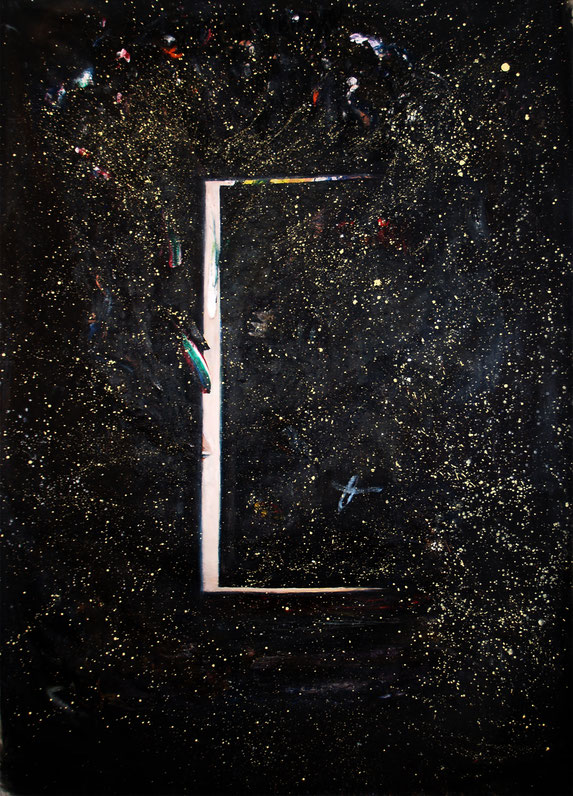 by the door, 2019, oil and acryl on canvas, 230 x 160 cm