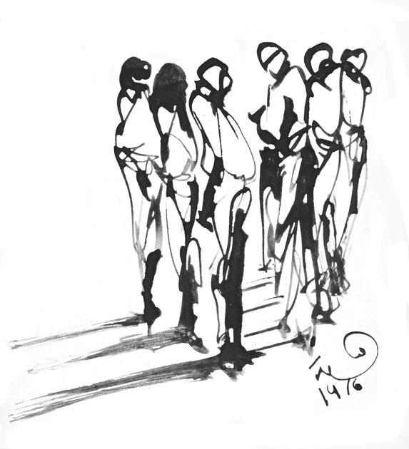 Hamida Sager, Disegno (china su cartoncino)