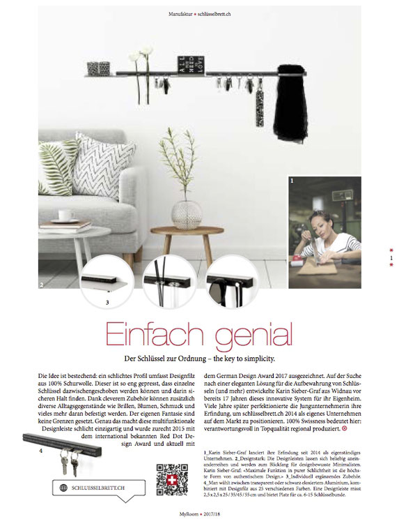 My Room, Magazin, Medienbericht schlüsselbrett, Alu Designleiste, Design Award, genial einfach, multifunktional, Ordnungswunder, Designfilz, Garderobe, Küche, Bad