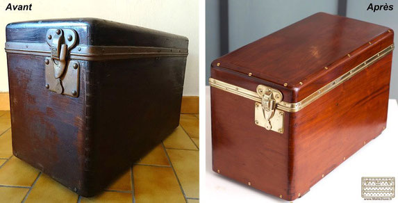 Louis Vuitton trunk car old solid mahogany box