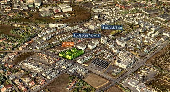 Vue aérienne de l'habitat participatif Callisto, écoquartier Vidailhan à Balma (31)