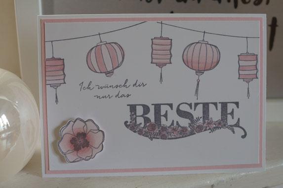 Rosa Geburtstagskarte - Stampin´Up! Sale-A-Bration 2018 - Patricia Stich  angestempelt!