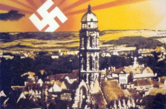 """Postkarte """"Hakenkreuz über Göttingen"""", Fotomontage 1933. Foto: Städtisches Museum Göttingen"""