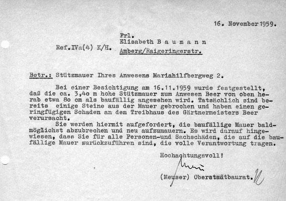 1959 Schriftverkehr Bauamt