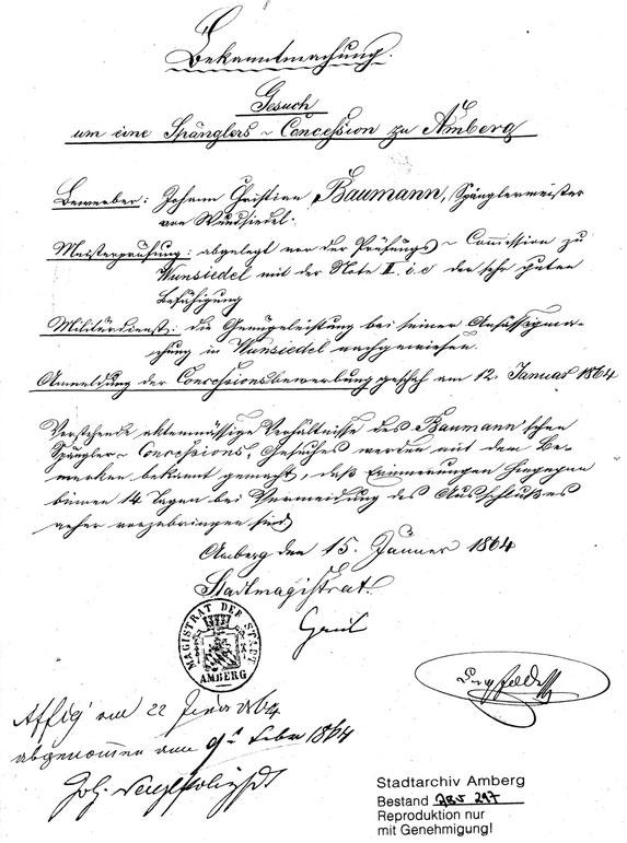 15.1.1864 Gesuch um eine Konzession als Spengler