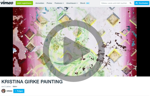 Video on Vimeo: KRISTINA GIRKE PAINTING, Duration: 9 min, ©Johannes P. Girke, Berlin 2016