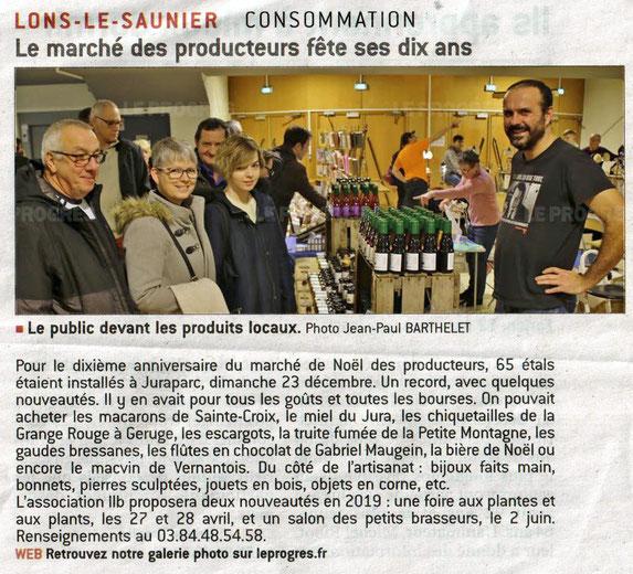 10ème marché de noël de producteurs de lons le saunier - association llb - le progrès - jean paul barthelet